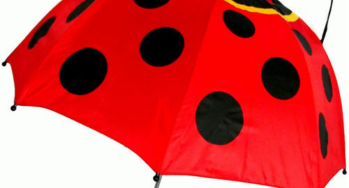 Kids Ladybug Umbrella with easy grip handle